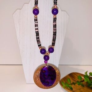 Bohemian Necklace Purple and Copper Tones